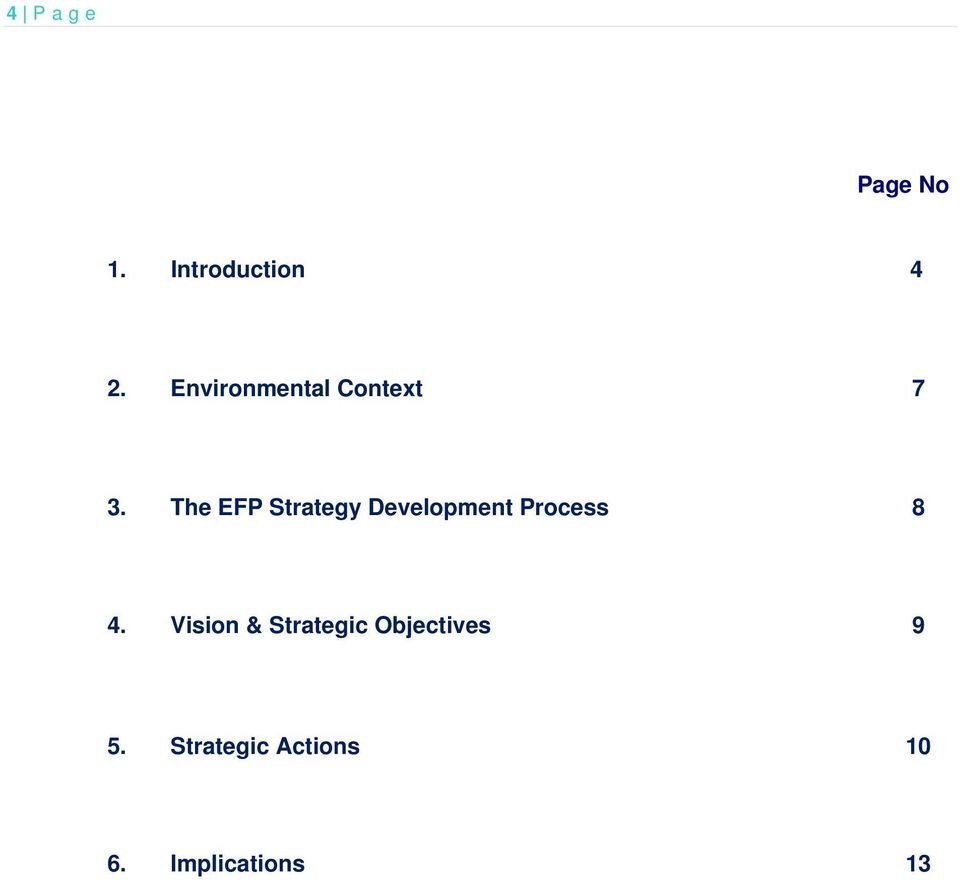 The EFP Strategy Development Process 8 4.