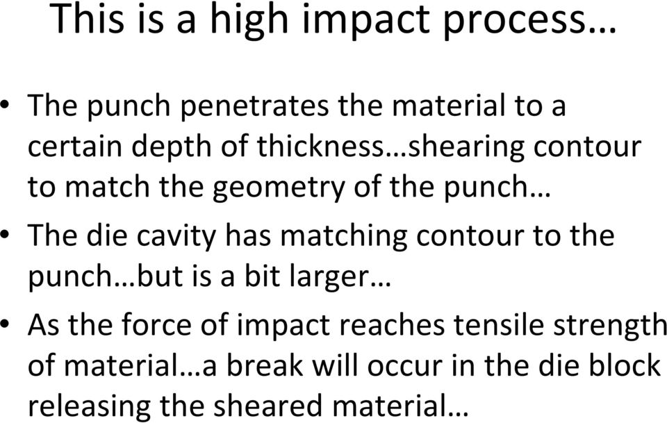 matching contour to the punch but is a bit larger As the force of impact reaches