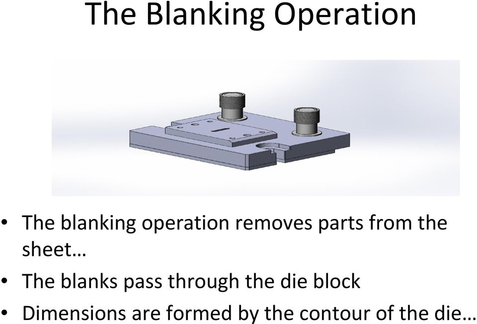 The blanks pass through the die block