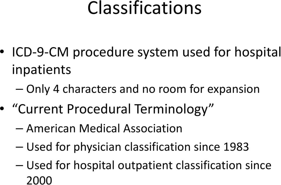 Procedural Terminology American Medical Association Used for