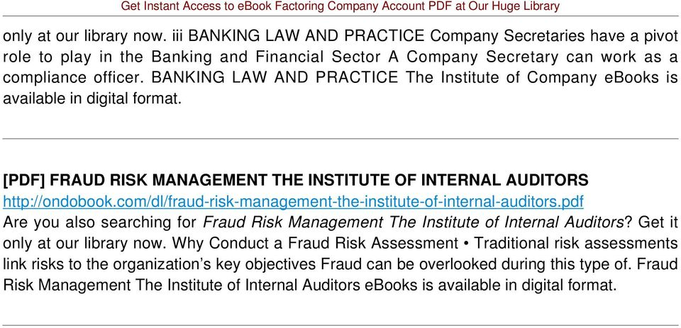 com/dl/fraud-risk-management-the-institute-of-internal-auditors.pdf Are you also searching for Fraud Risk Management The Institute of Internal Auditors? Get it only at our library now.