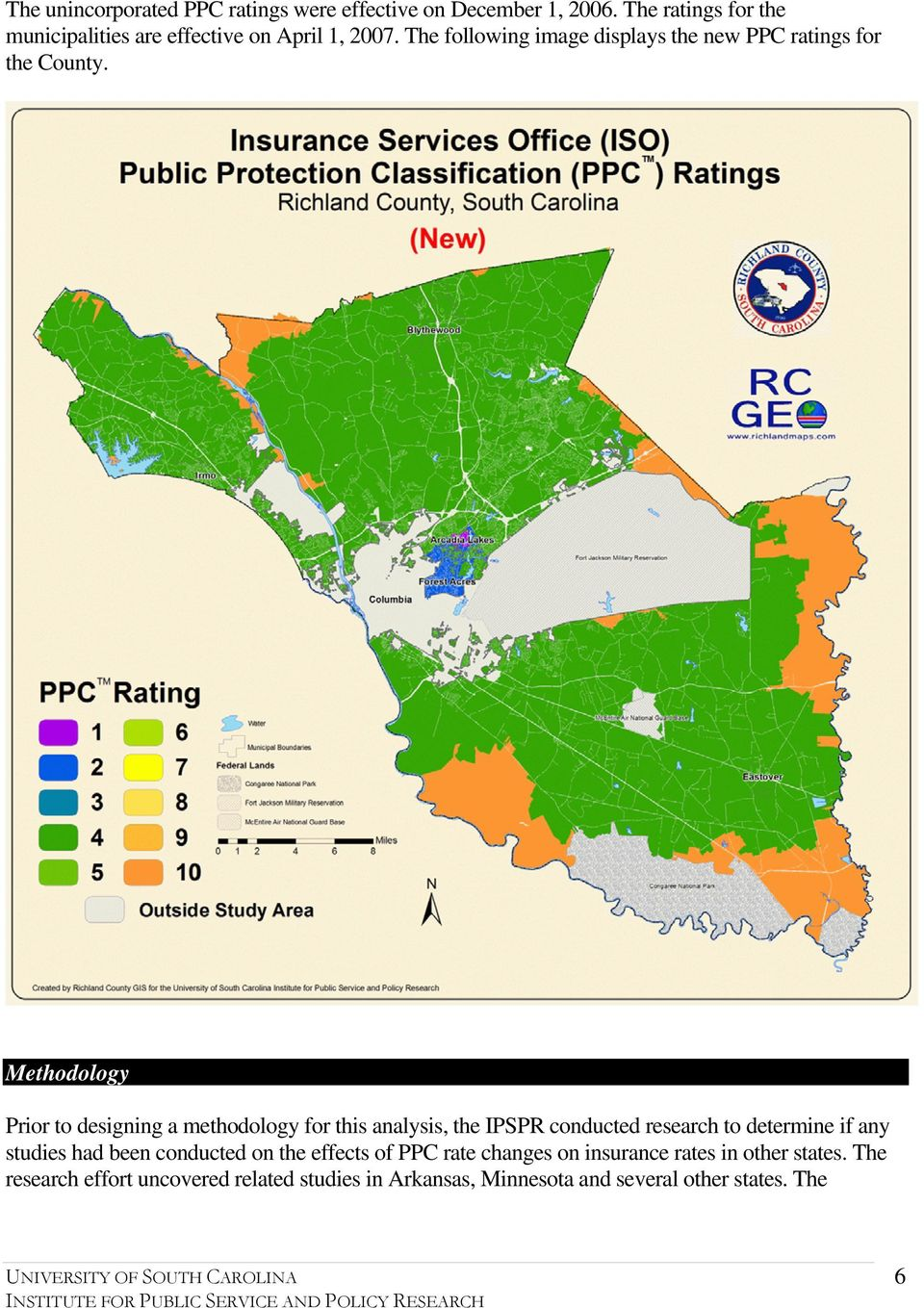 The following image displays the new PPC ratings for the County.
