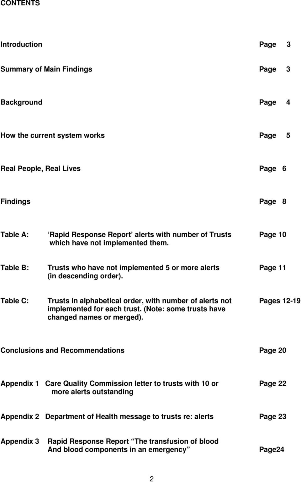 Table C: Trusts in alphabetical order, with number of alerts not Pages 12-19 implemented for each trust. (Note: some trusts have changed names or merged).