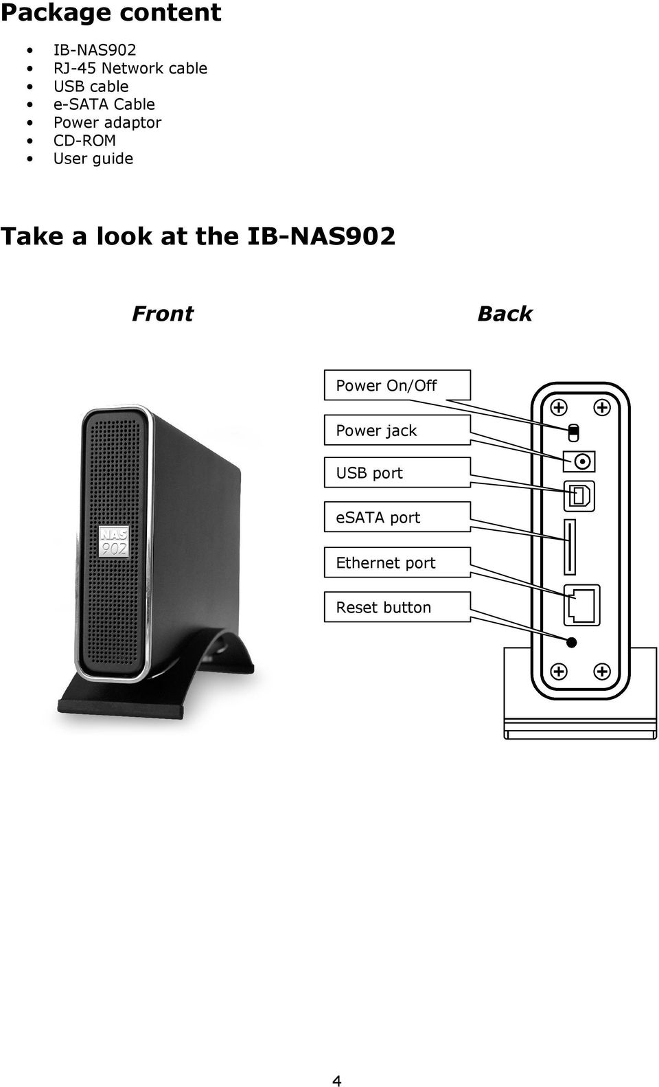 Take a look at the IB-NAS902 Front Back Power On/Off