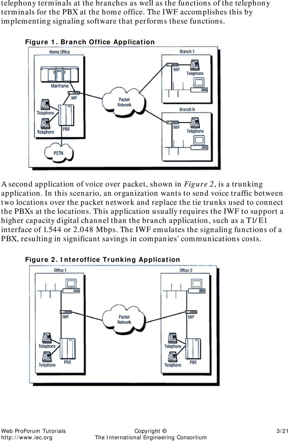 Branch Office Application A second application of voice over packet, shown in Figure 2, is a trunking application.