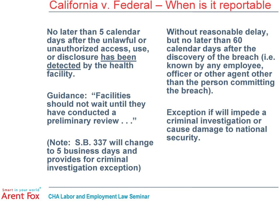 facility. Guidance: Facilities should not wait until they have conducted a preliminary review... (Note: S.B.