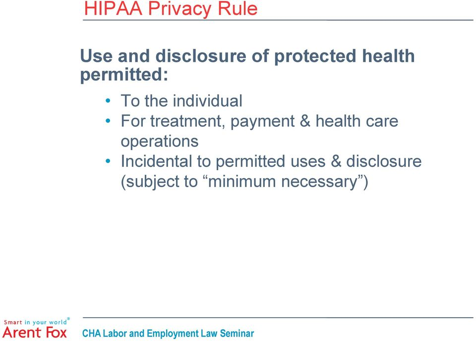 payment & health care operations Incidental to