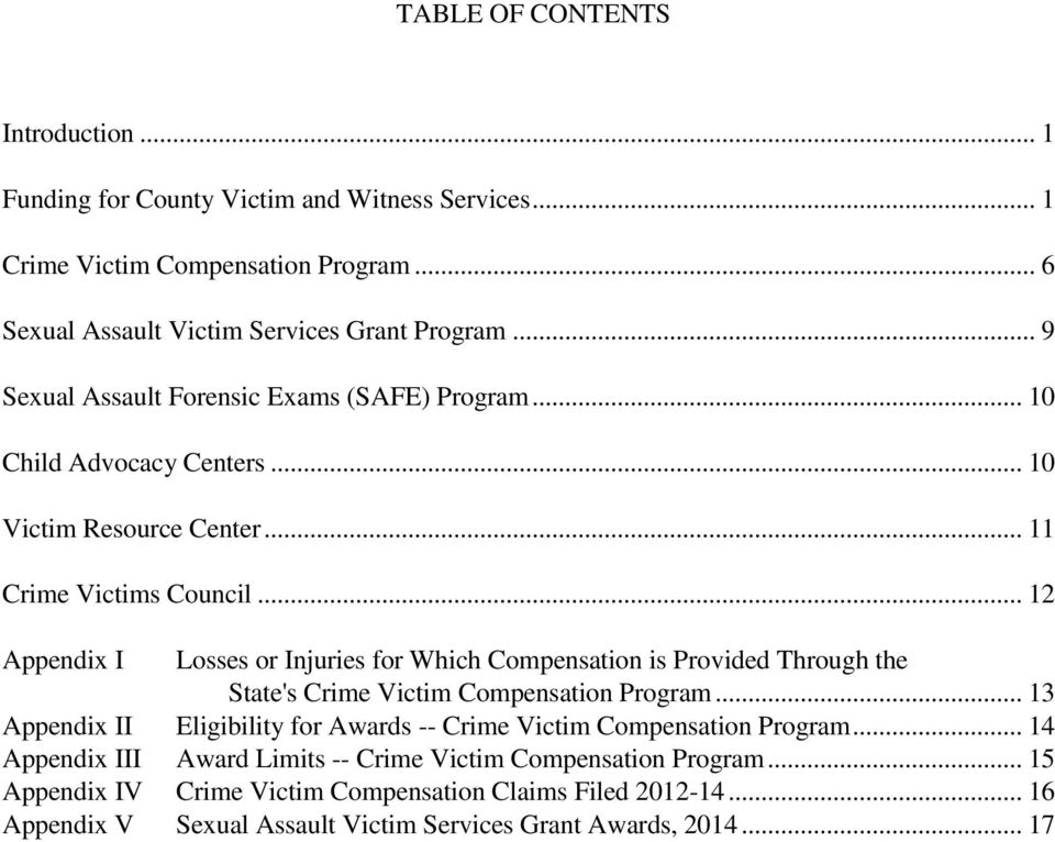 .. 12 Appendix I Losses or Injuries for Which Compensation is Provided Through the State's Crime Victim Compensation Program.