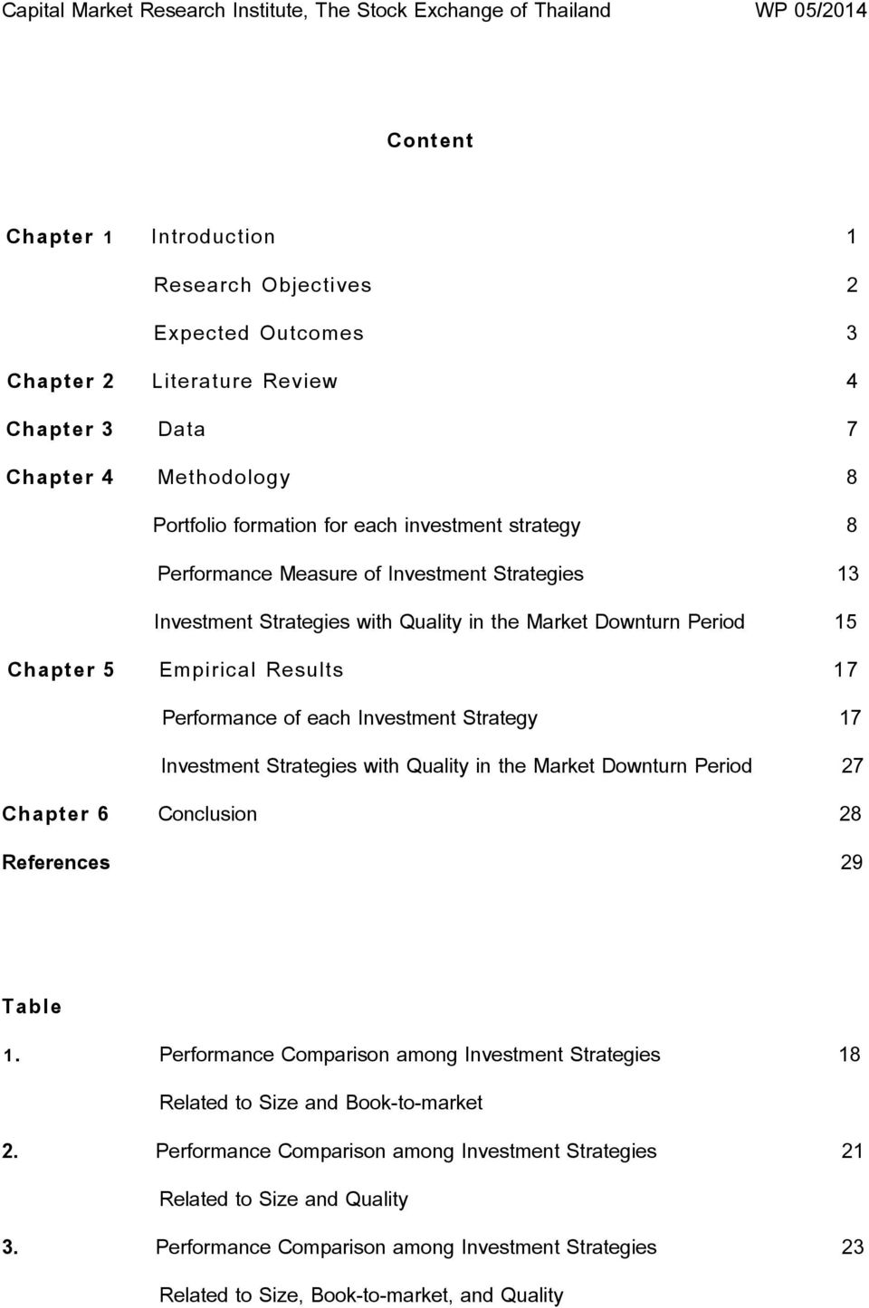 Investment Strategies with Quality in the Market Downturn Period 27 Chapter 6 Conclusion 28 References 29 Table 1.