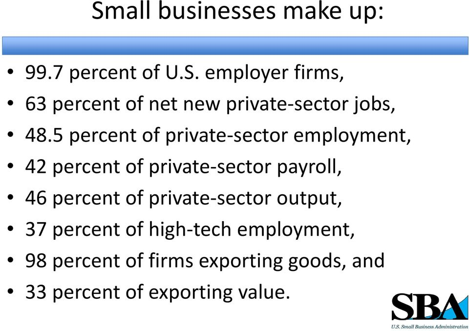 percent of private sector output, 37 percent of high tech employment, 98 percent