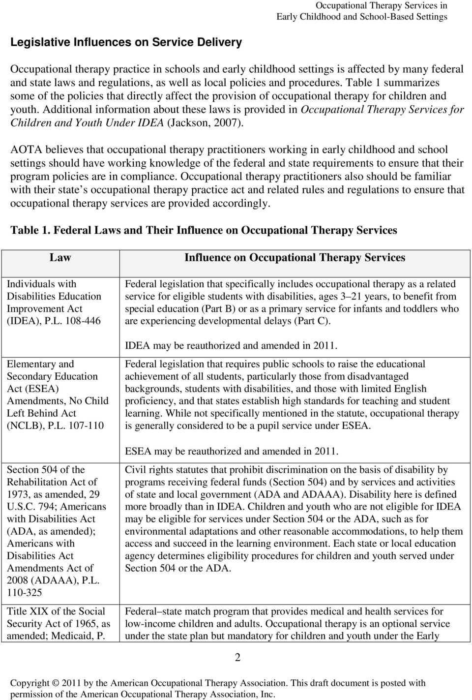 Additional information about these laws is provided in Occupational Therapy Services for Children and Youth Under IDEA (Jackson, 2007).