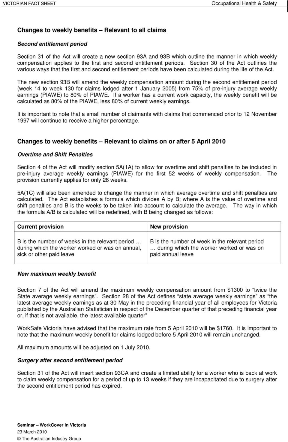 The new section 93B will amend the weekly compensation amount during the second entitlement period (week 14 to week 130 for claims lodged after 1 January 2005) from 75% of pre-injury average weekly