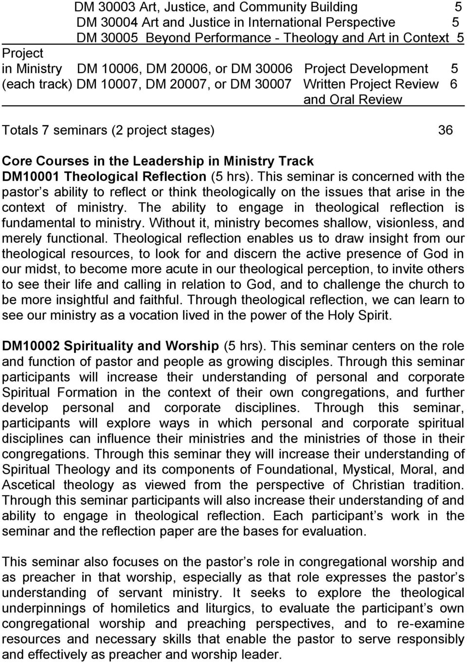 in Ministry Track DM10001 Theological Reflection (5 hrs). This seminar is concerned with the pastor s ability to reflect or think theologically on the issues that arise in the context of ministry.