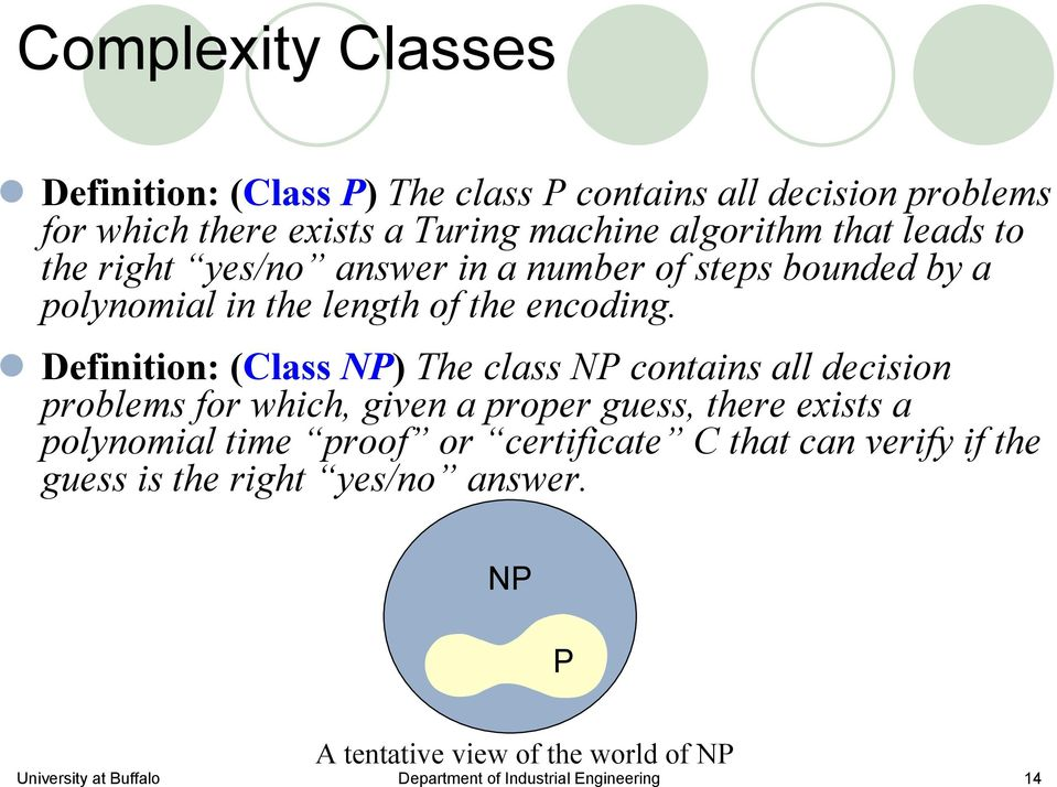 Definition: (Class NP) The class NP contains all decision problems for which, given a proper guess, there exists a polynomial time proof or