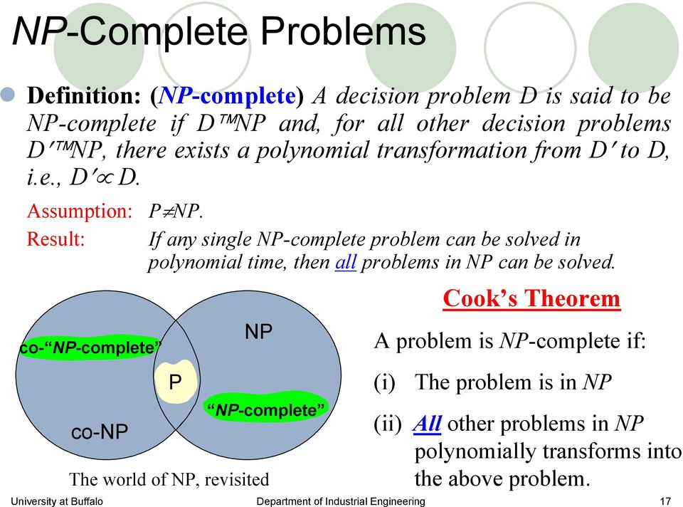 Result: If any single NP-complete problem can be solved in polynomial time, then all problems in NP can be solved.