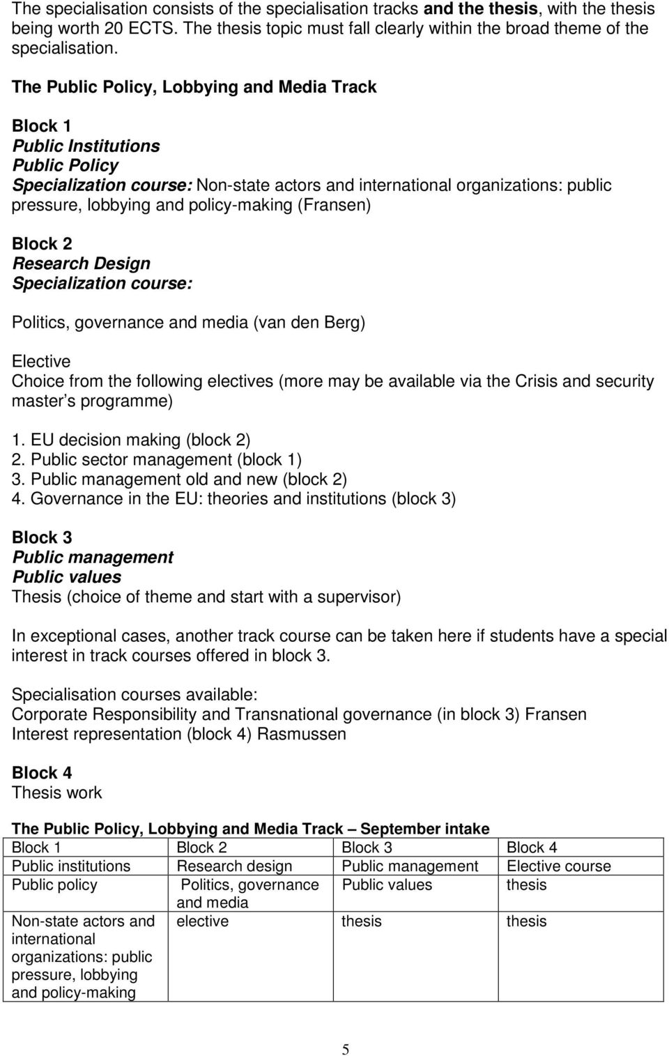 policy-making (Fransen) Block 2 Research Design Specialization course: Politics, governance and media (van den Berg) Elective Choice from the following electives (more may be available via the Crisis