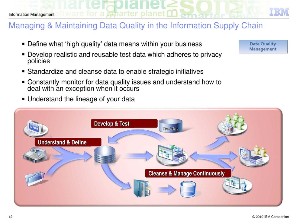 enable strategic initiatives Constantly monitor for data quality issues and understand how to deal with an exception