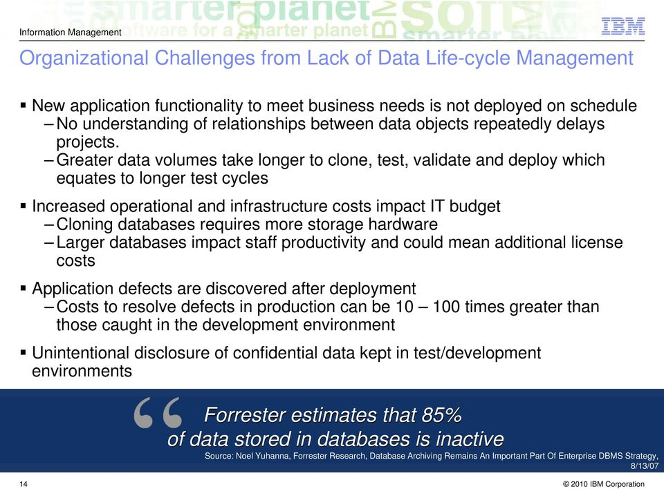 Greater data volumes take longer to clone, test, validate and deploy which equates to longer test cycles Increased operational and infrastructure costs impact IT budget Cloning databases requires