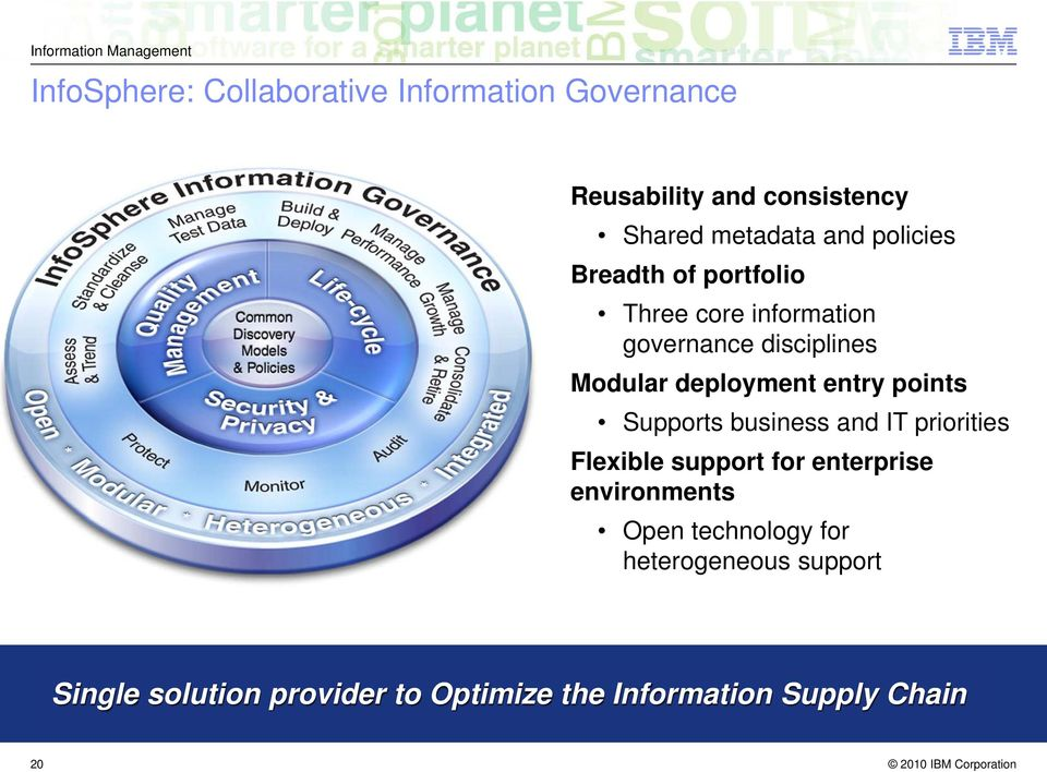 entry points Supports business and IT priorities Flexible support for enterprise environments Open