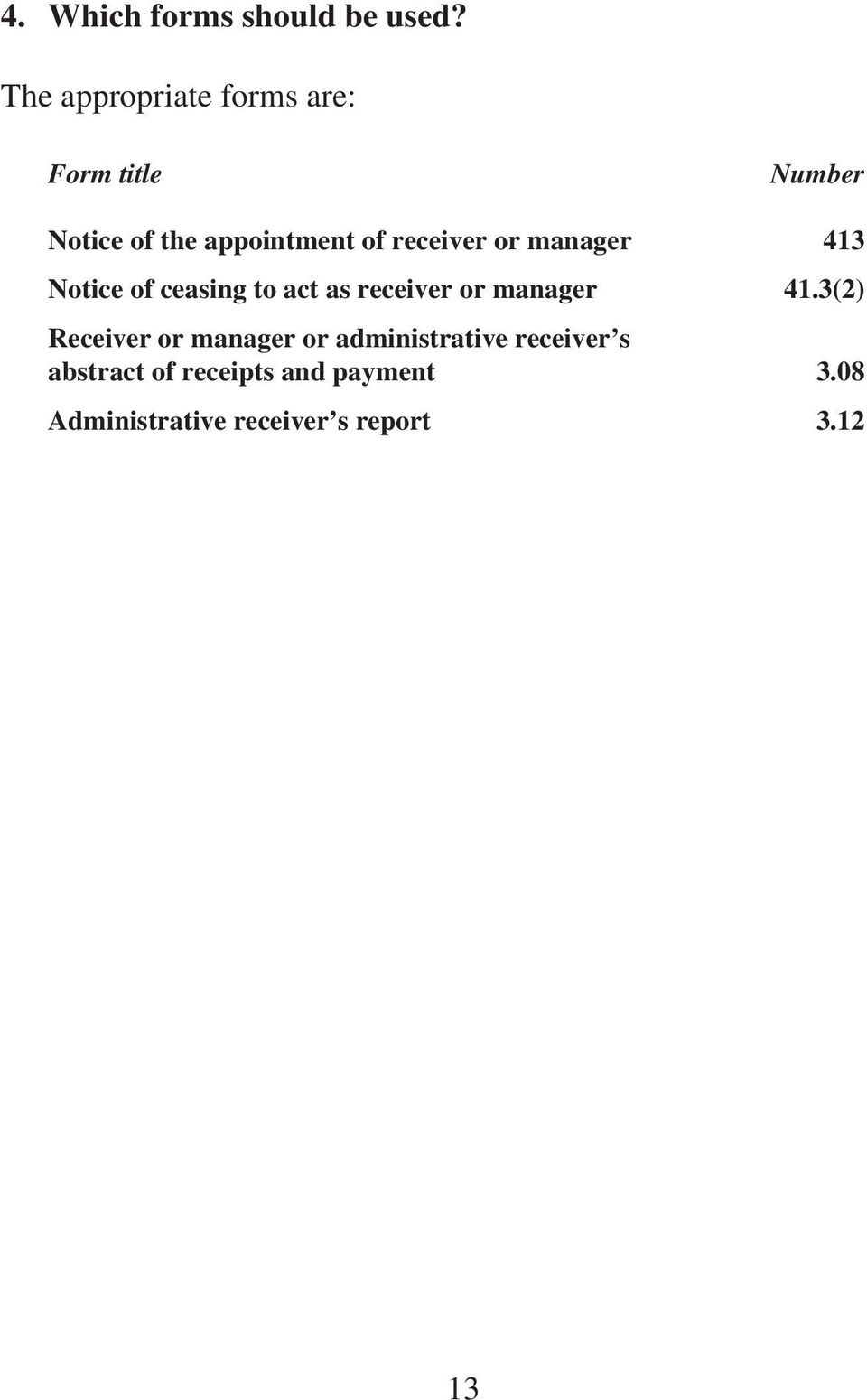 receiver or manager 413 Notice of ceasing to act as receiver or manager 41.
