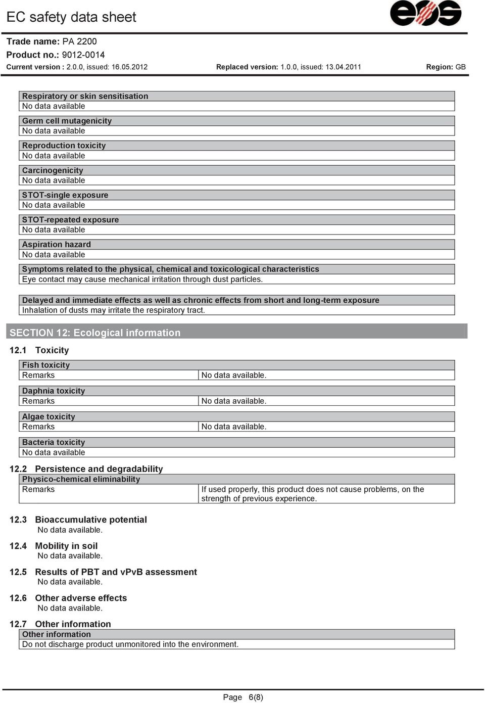 7008319 EC safety data sheet Respiratory or skin sensitisation Germ cell mutagenicity Reproduction toxicity Carcinogenicity STOT-single exposure STOT-repeated exposure Aspiration hazard Symptoms