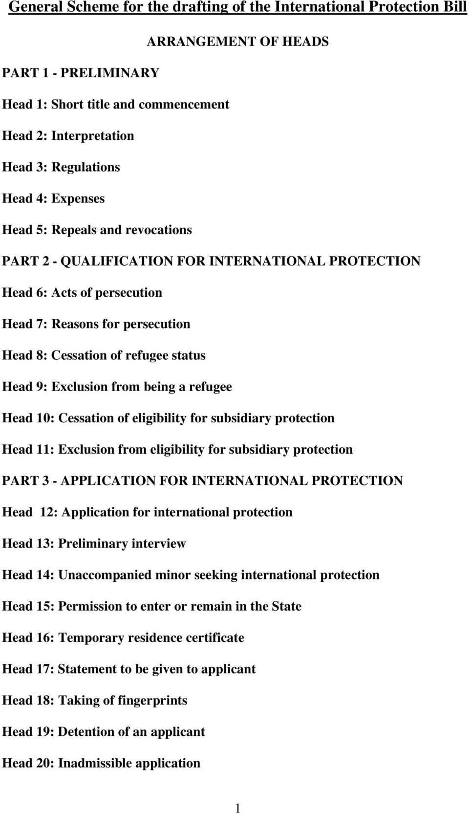 Exclusion from being a refugee Head 10: Cessation of eligibility for subsidiary protection Head 11: Exclusion from eligibility for subsidiary protection PART 3 - APPLICATION FOR INTERNATIONAL