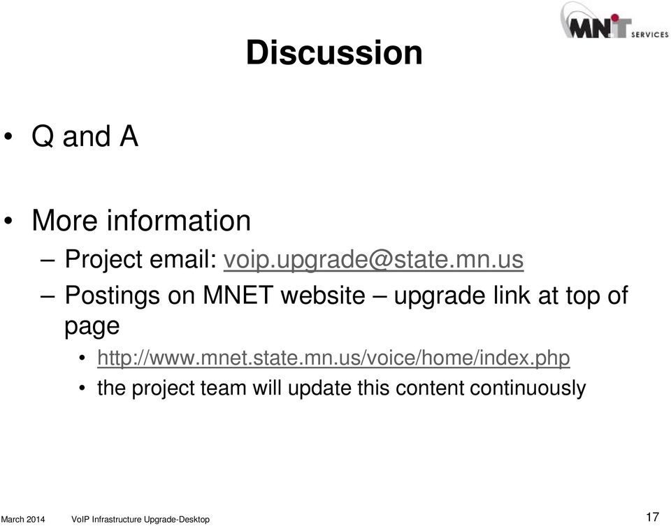 us Postings on MNET website upgrade link at top of page