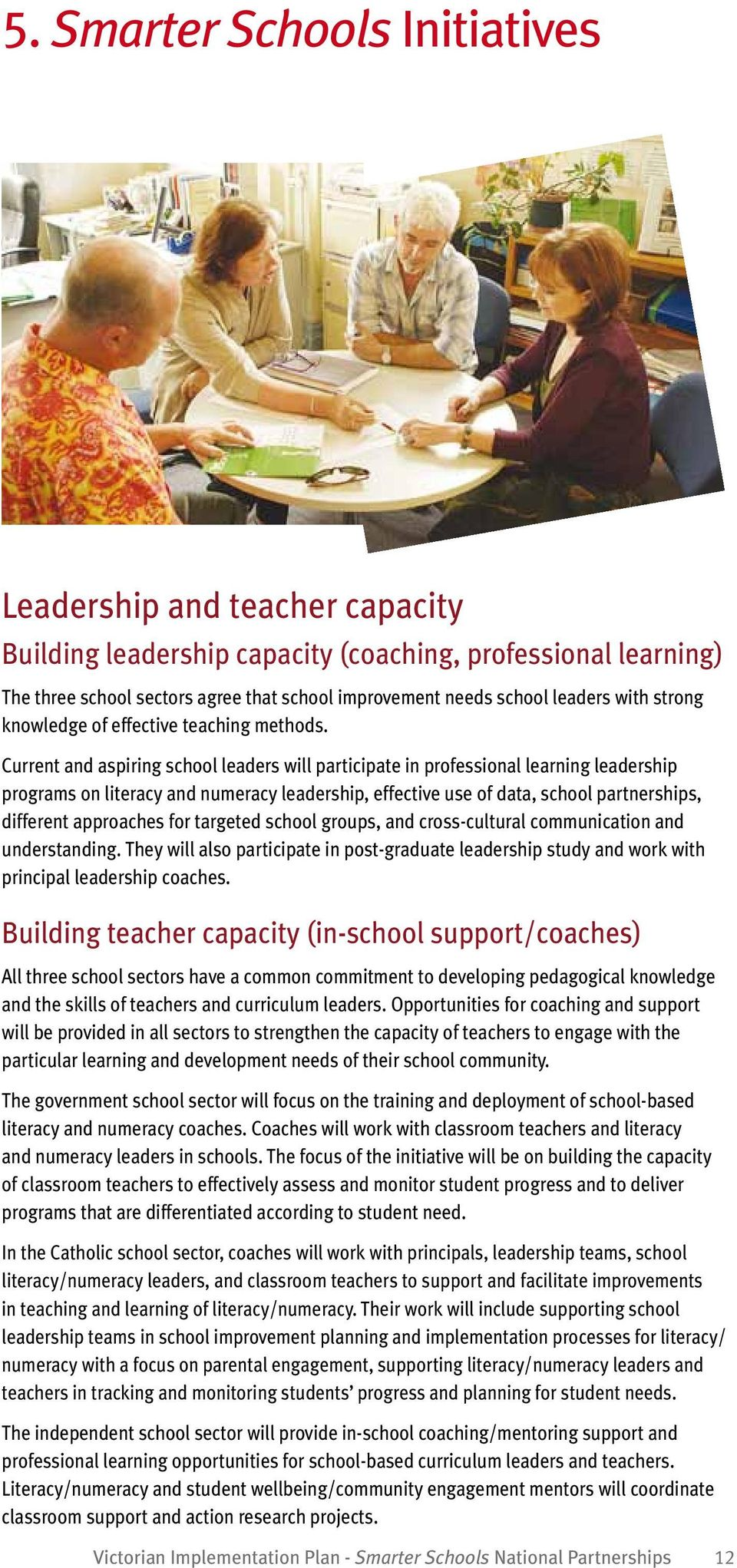 Current and aspiring school leaders will participate in professional learning leadership programs on literacy and numeracy leadership, effective use of data, school partnerships, different approaches