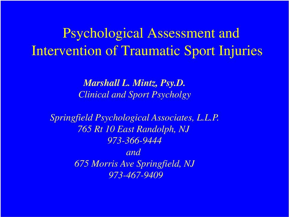Clinical and Sport Psycholgy Springfield Psychological