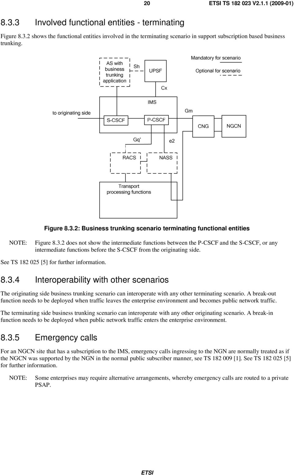 See TS 182 025 [5] for further information. 8.3.4 Interoperability with other scenarios The originating side business trunking scenario can interoperate with any other terminating scenario.