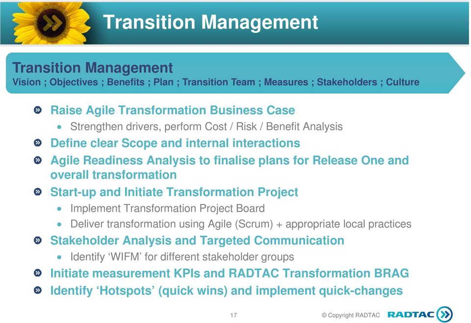 transformation Start-up and Initiate Transformation Project Implement Transformation Project Board Deliver transformation using Agile (Scrum) + appropriate local practices Stakeholder