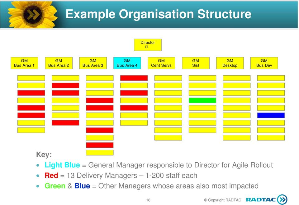 General Manager responsible to Director for Agile Rollout Red = 13 Delivery
