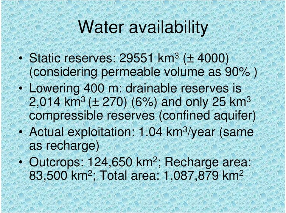 compressible reserves (confined aquifer) Actual exploitation: 1.