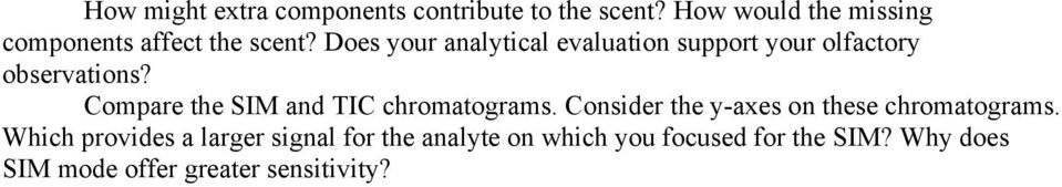Does your analytical evaluation support your olfactory observations?