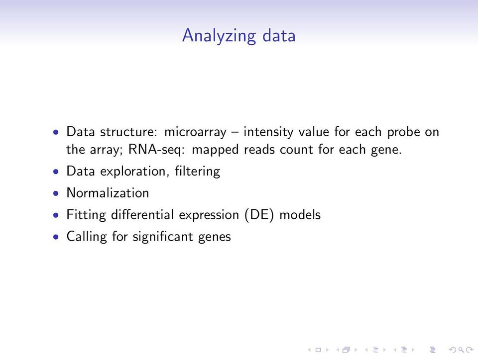 gene. Data exploration, filtering Normalization Fitting