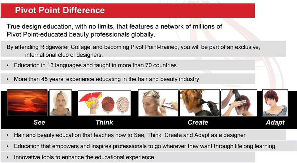 Education in 13 languages and taught in more than 70 countries More than 45 years experience educating in the hair and beauty industry See Think Create Adapt Hair and