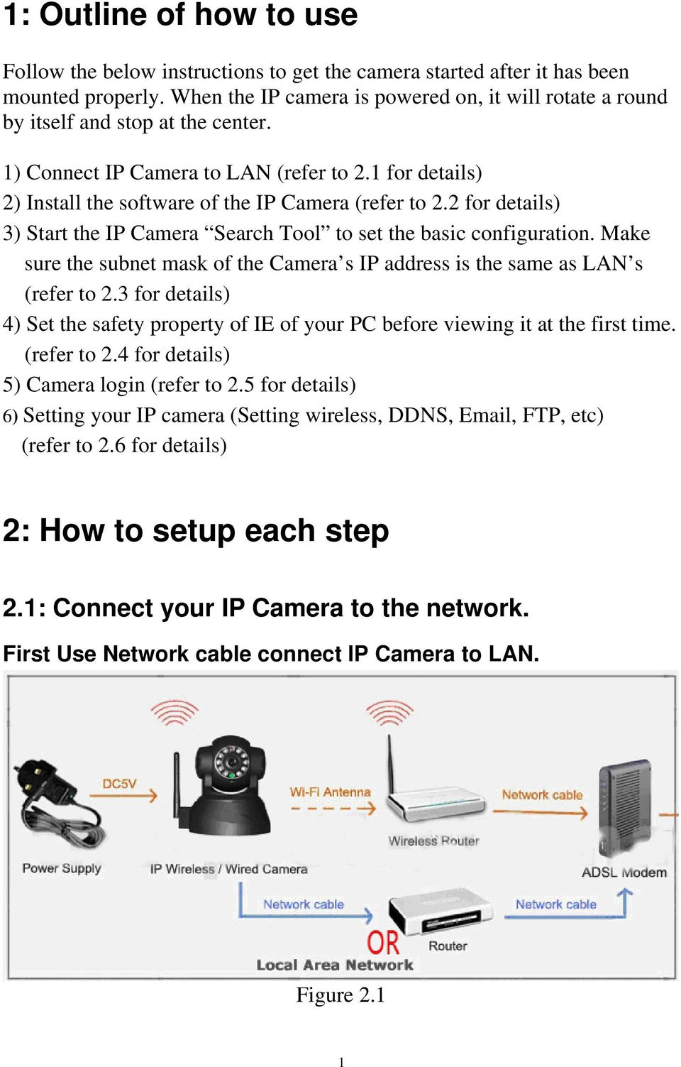 2 for details) 3) Start the IP Camera Search Tool to set the basic configuration. Make sure the subnet mask of the Camera s IP address is the same as LAN s (refer to 2.