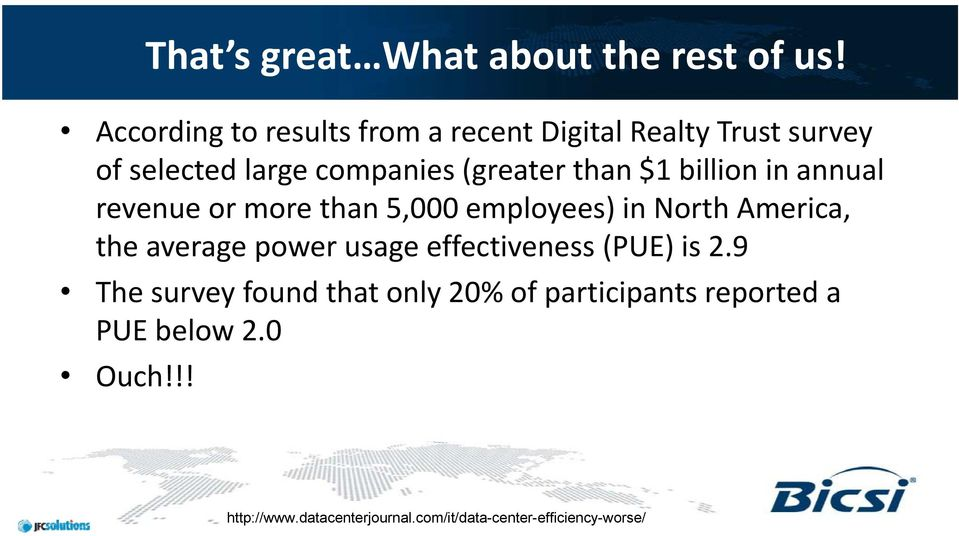 $1 billion in annual revenue or more than 5,000 employees) in North America, the average power usage