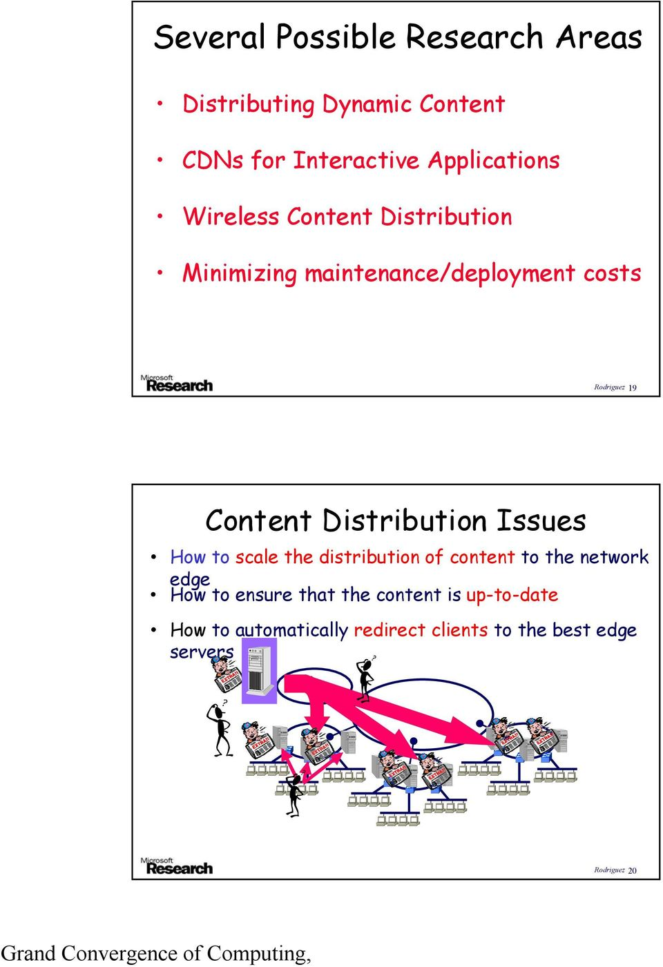 Distribution Issues How to scale the distribution of content to the network edge How to ensure