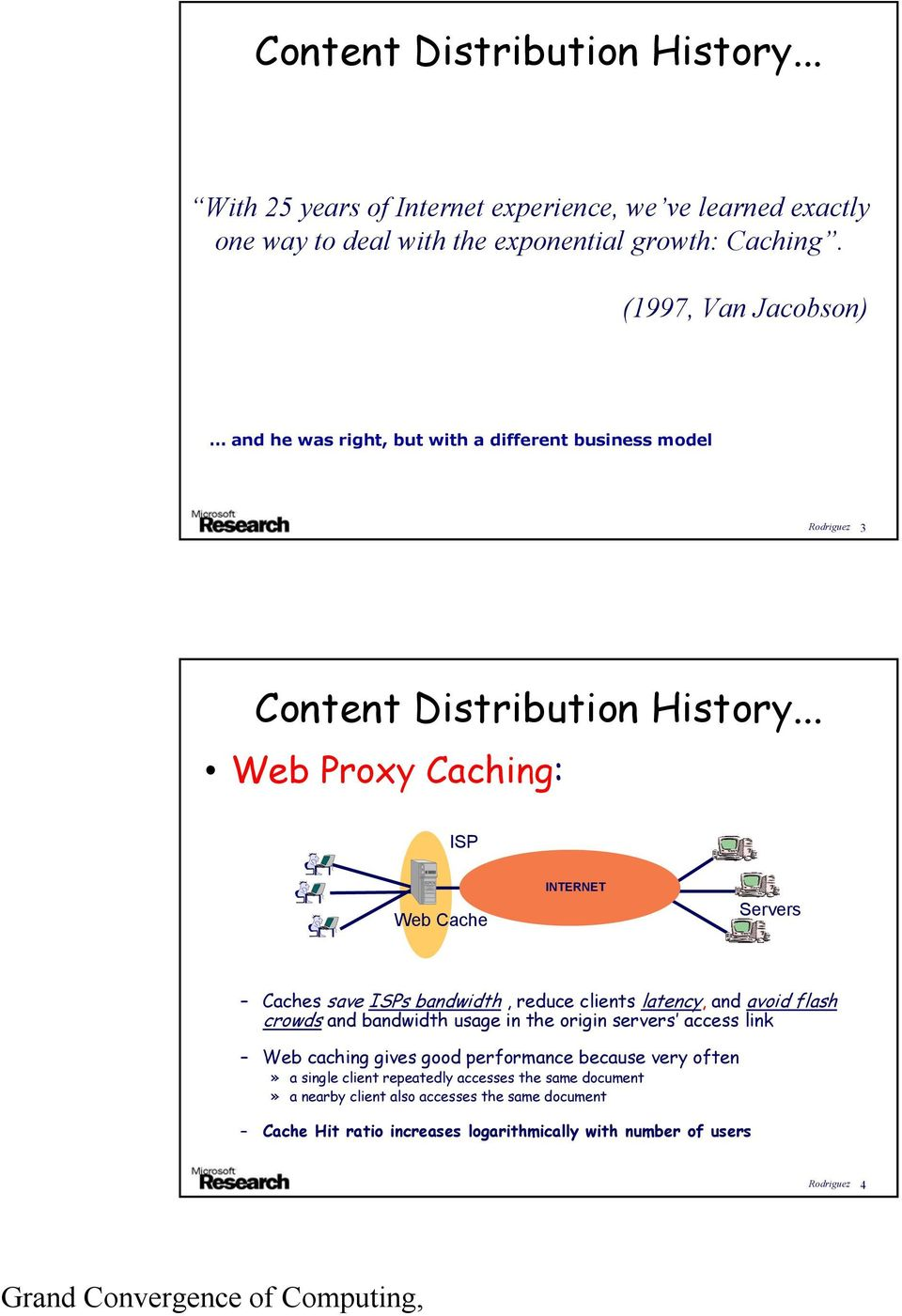 .. Web Proxy Caching: ISP Web Cache INTERNET Servers Caches save ISPs bandwidth, reduce clients latency, and avoid flash crowds and bandwidth usage in the origin