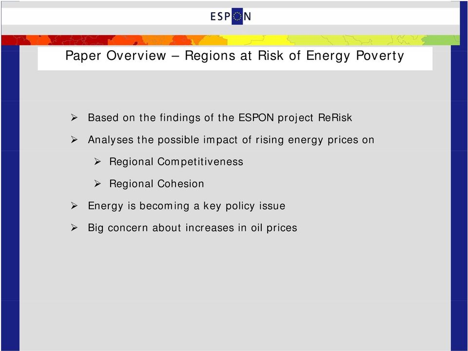 rising energy prices on Regional Competitiveness Regional Cohesion