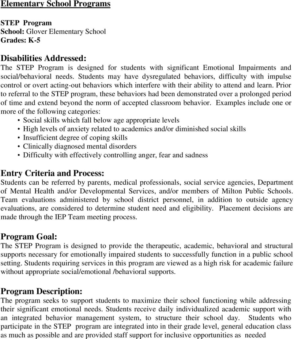 Prior to referral to the STEP program, these behaviors had been demonstrated over a prolonged period of time and extend beyond the norm of accepted classroom behavior.