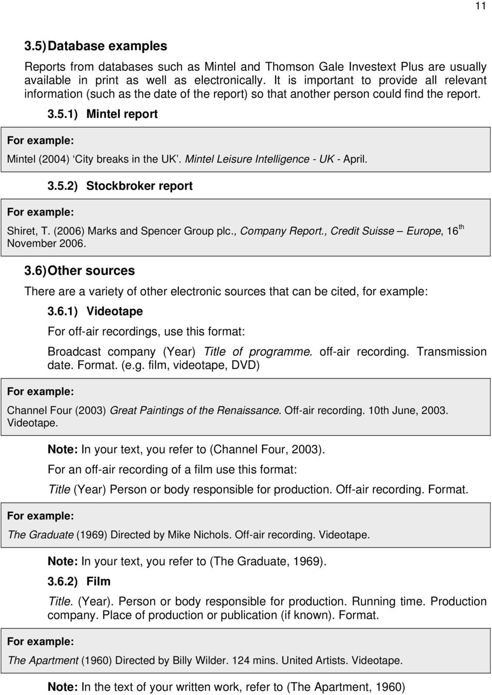 Mintel Leisure Intelligence - UK - April. 3.5.2) Stockbroker report Shiret, T. (2006) Marks and Spencer Group plc., Company Report., Credit Suisse Europe, 16 th November 2006. 3.6) Other sources There are a variety of other electronic sources that can be cited, for example: 3.