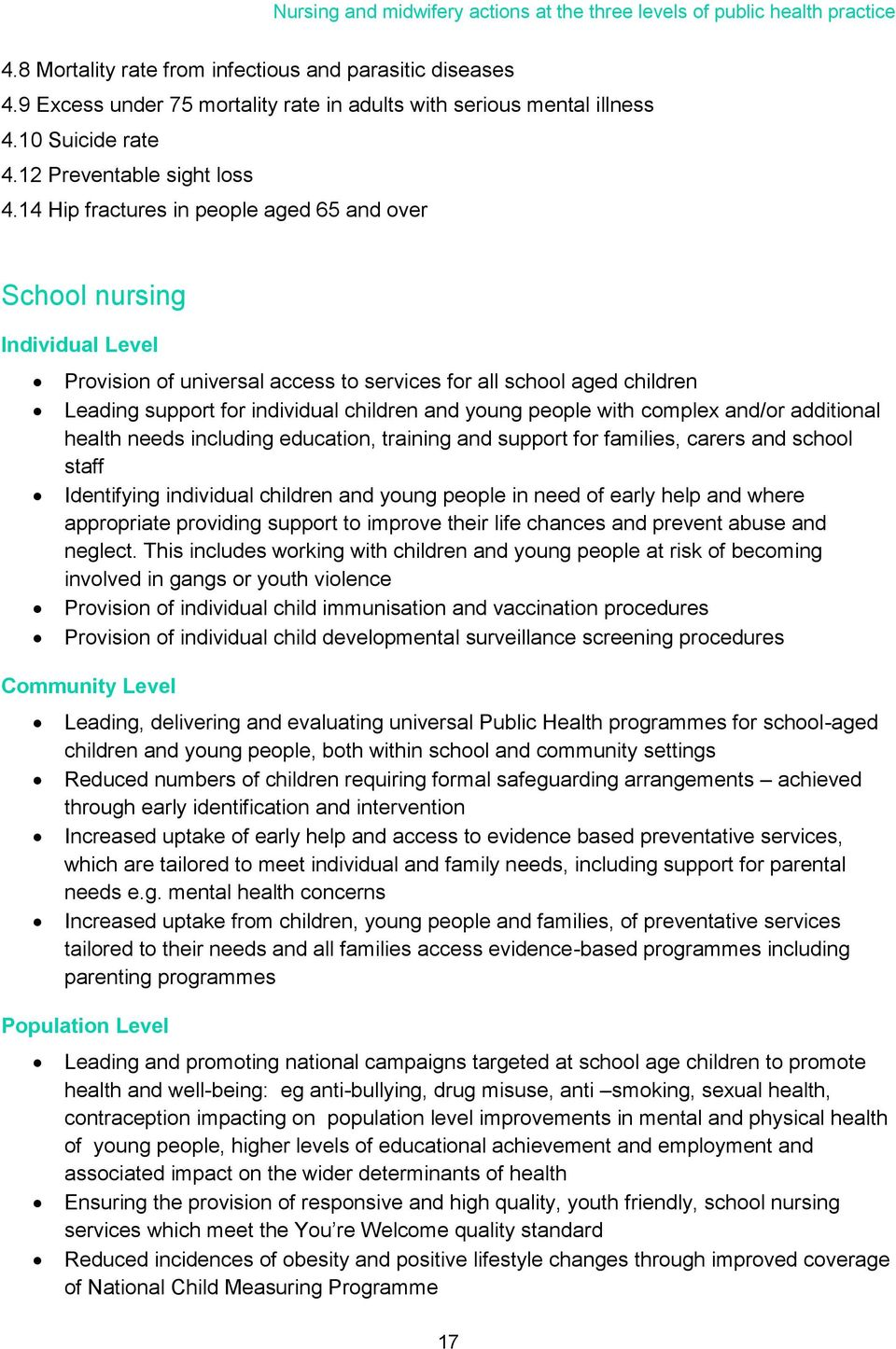 14 Hip fractures in people aged 65 and over School nursing Provision of universal access to services for all school aged children Leading support for individual children and young people with complex