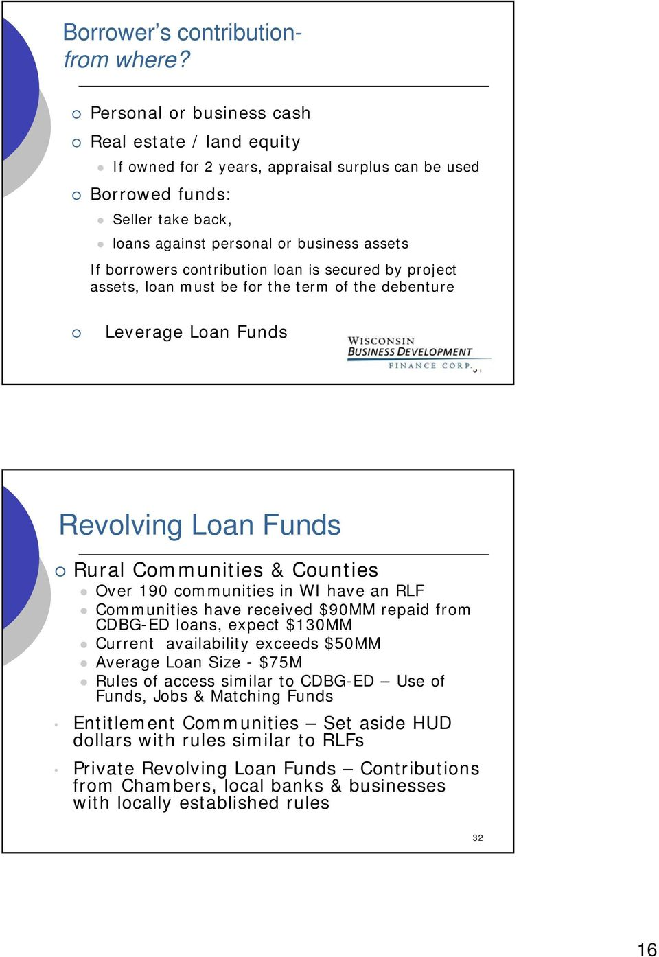contribution loan is secured by project assets, loan must be for the term of the debenture Leverage Loan Funds 31 Revolving Loan Funds Rural Communities & Counties Over 190 communities in WI have an