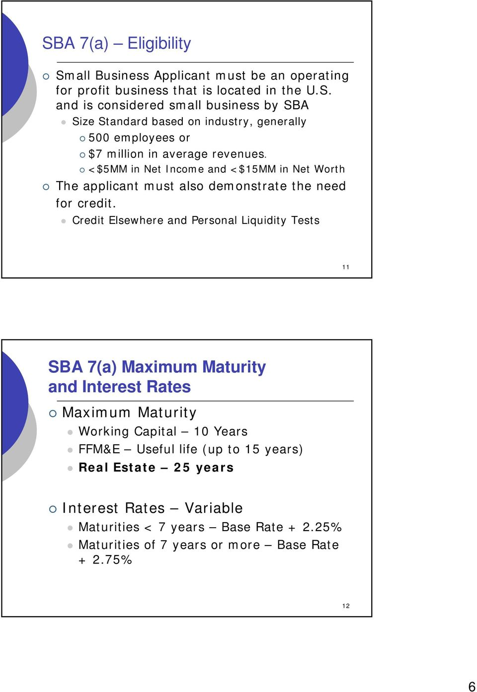 Credit Elsewhere and Personal Liquidity Tests 11 SBA 7(a) Maximum Maturity and Interest Rates Maximum Maturity Working Capital 10 Years FFM&E Useful life (up to 15