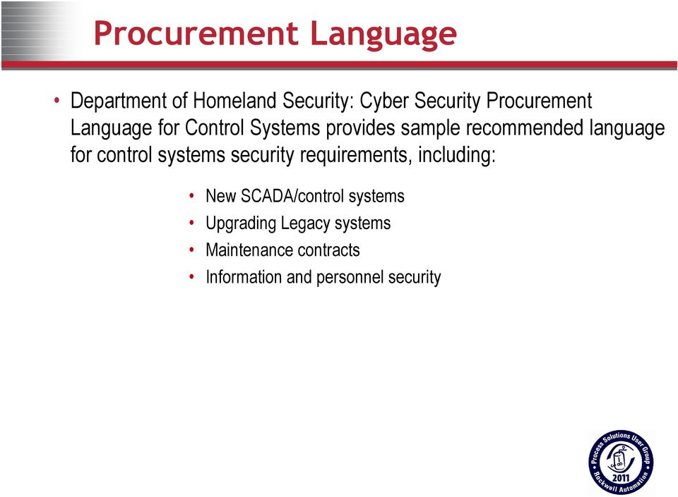 language for control systems security requirements, including: New