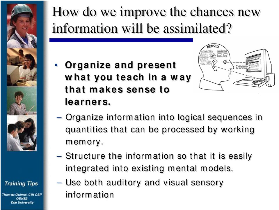 Organize information into logical sequences in quantities that can be processed by working