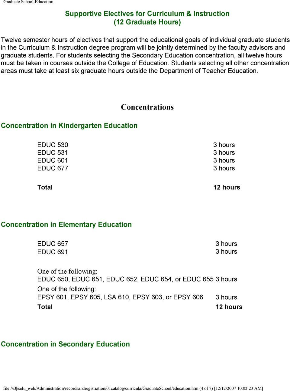 For students selecting the Secondary Education concentration, all twelve hours must be taken in courses outside the College of Education.