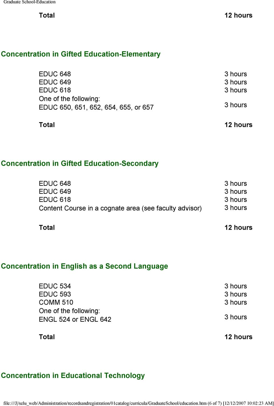 English as a Second Language EDUC 534 EDUC 593 COMM 510 ENGL 524 or ENGL 642 Concentration in Educational Technology file:///j